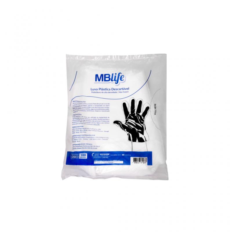 imagem Luva Plástica HDPE Descartável em Polietileno - 100 Unidades - Medix