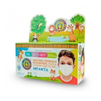 imagem Máscara Cirúrgica Descartável Dupla Camada Com Filtro Infantil - 50 unidades - Ortho Pauher